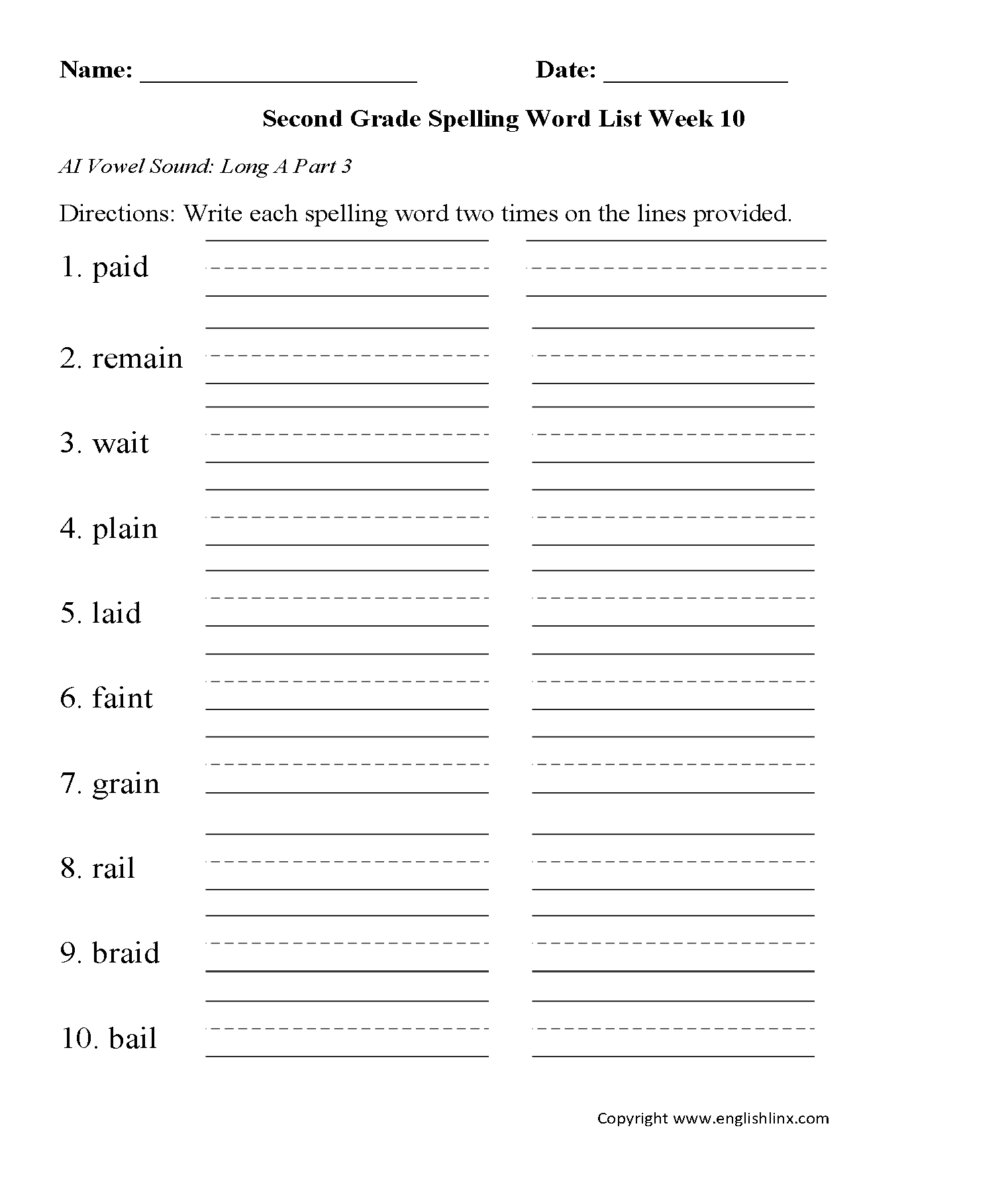 Second Grade Spelling Words Worksheets