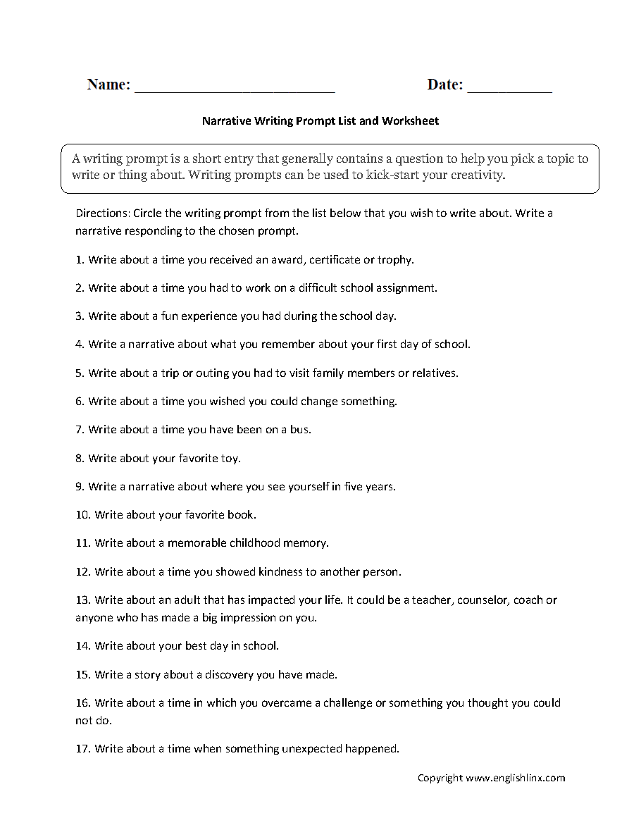 Writing Worksheets Writing Prompts Worksheets [ 1188 x 910 Pixel ]