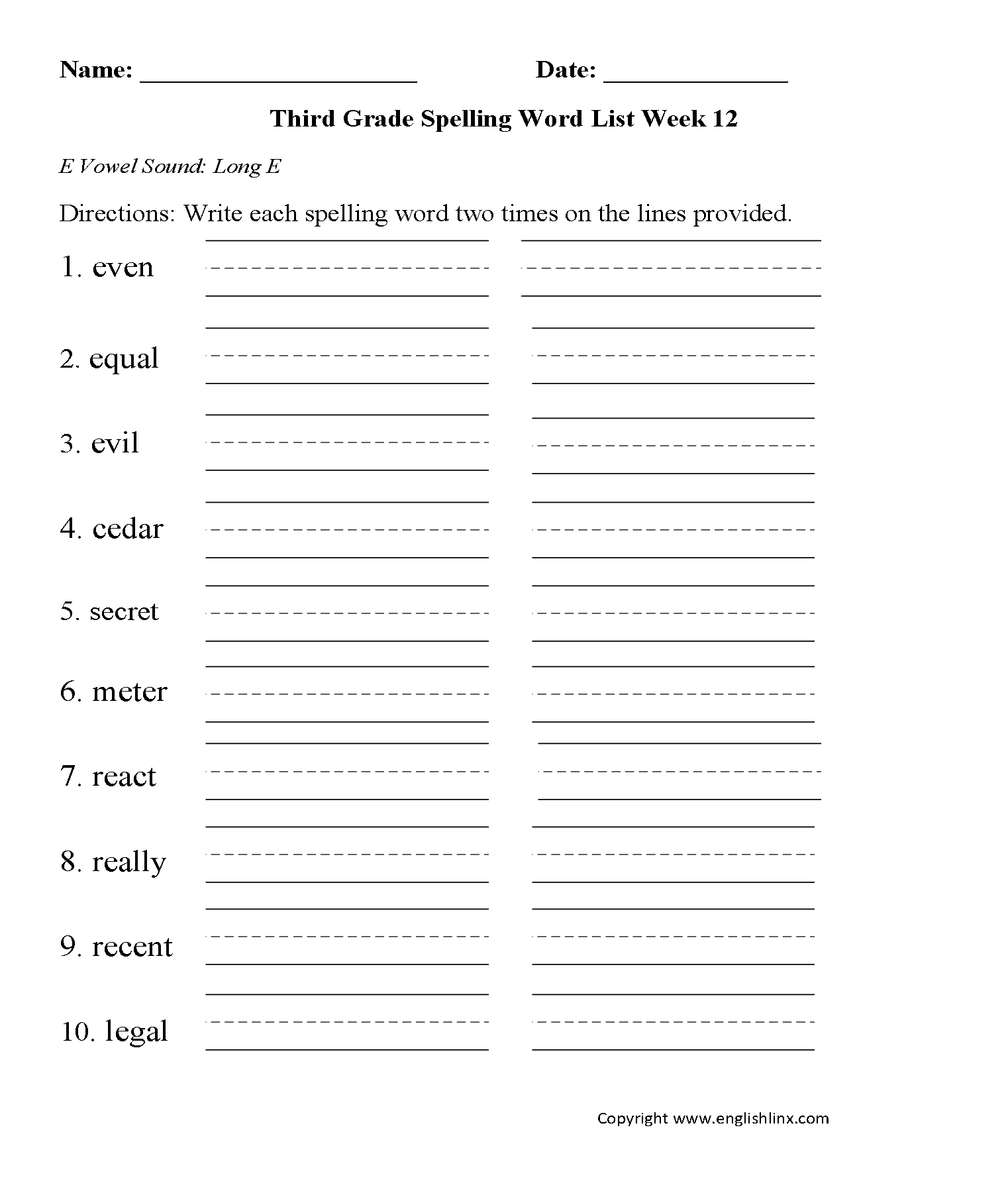 Third Grade Spelling Words Worksheets
