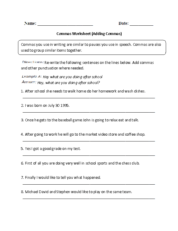 Commas Worksheets