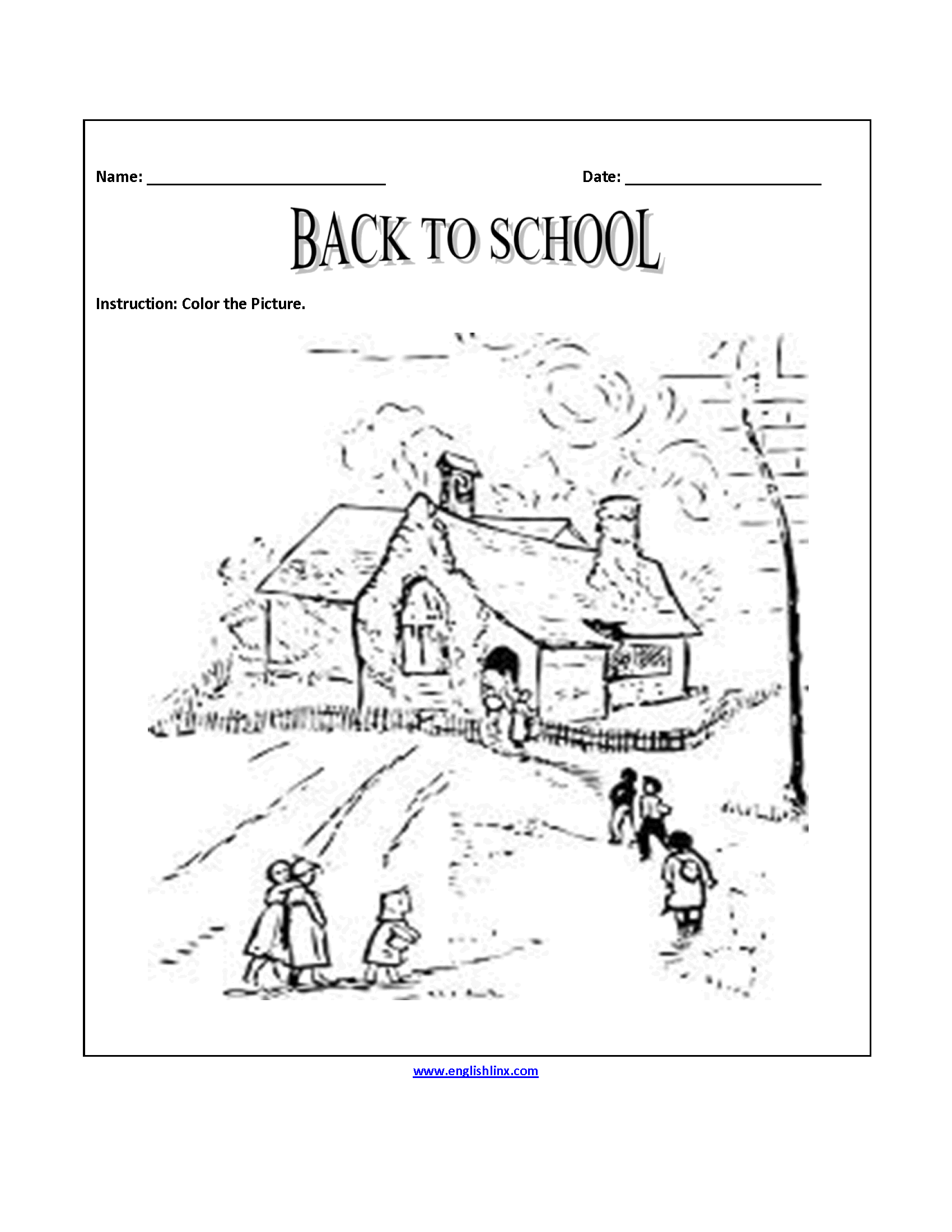 Back to School Coloring Page Worksheets
