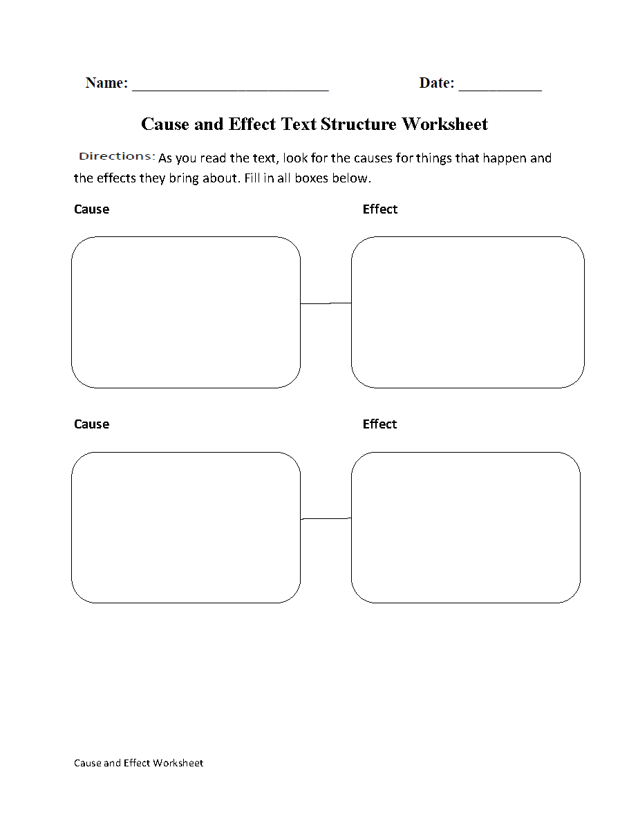 Cause and Effect Text Structure Worksheets