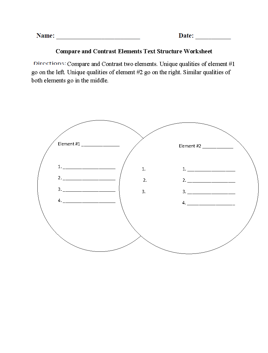Compare and Contrast Elements Text Structure Worksheets