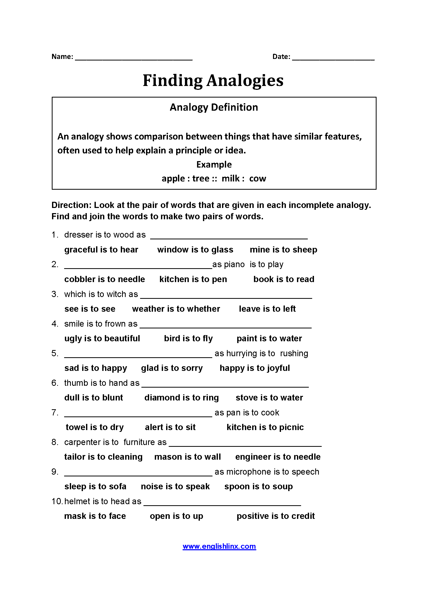 Finding Analogy Worksheets