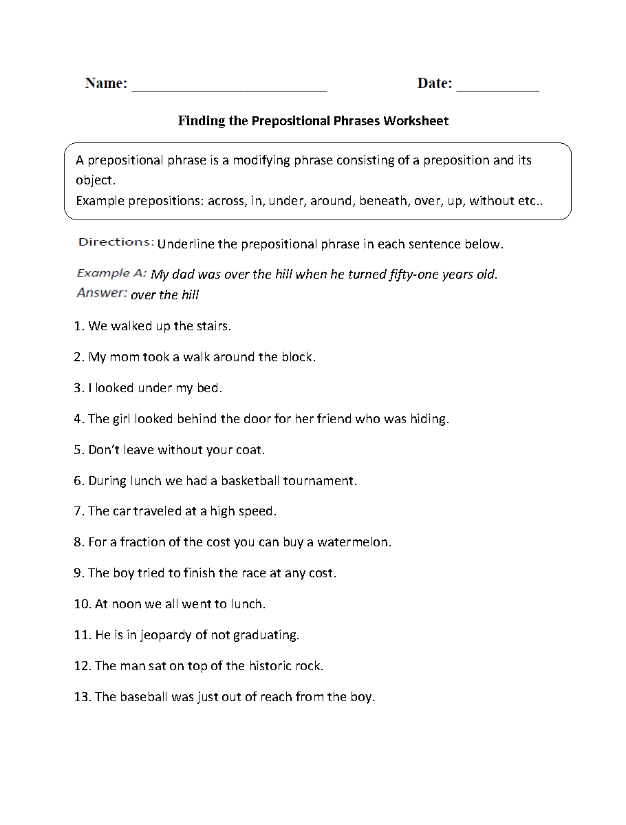 Parts of a Sentence Worksheets   Prepositional Phrase ...