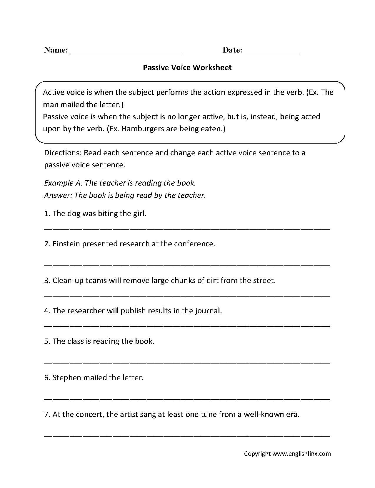 Passive Voice Worksheets