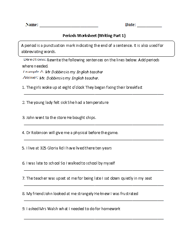 Periods Worksheets