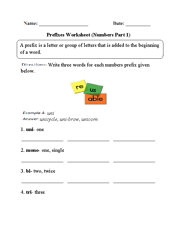 Numbers Prefixes Worksheet