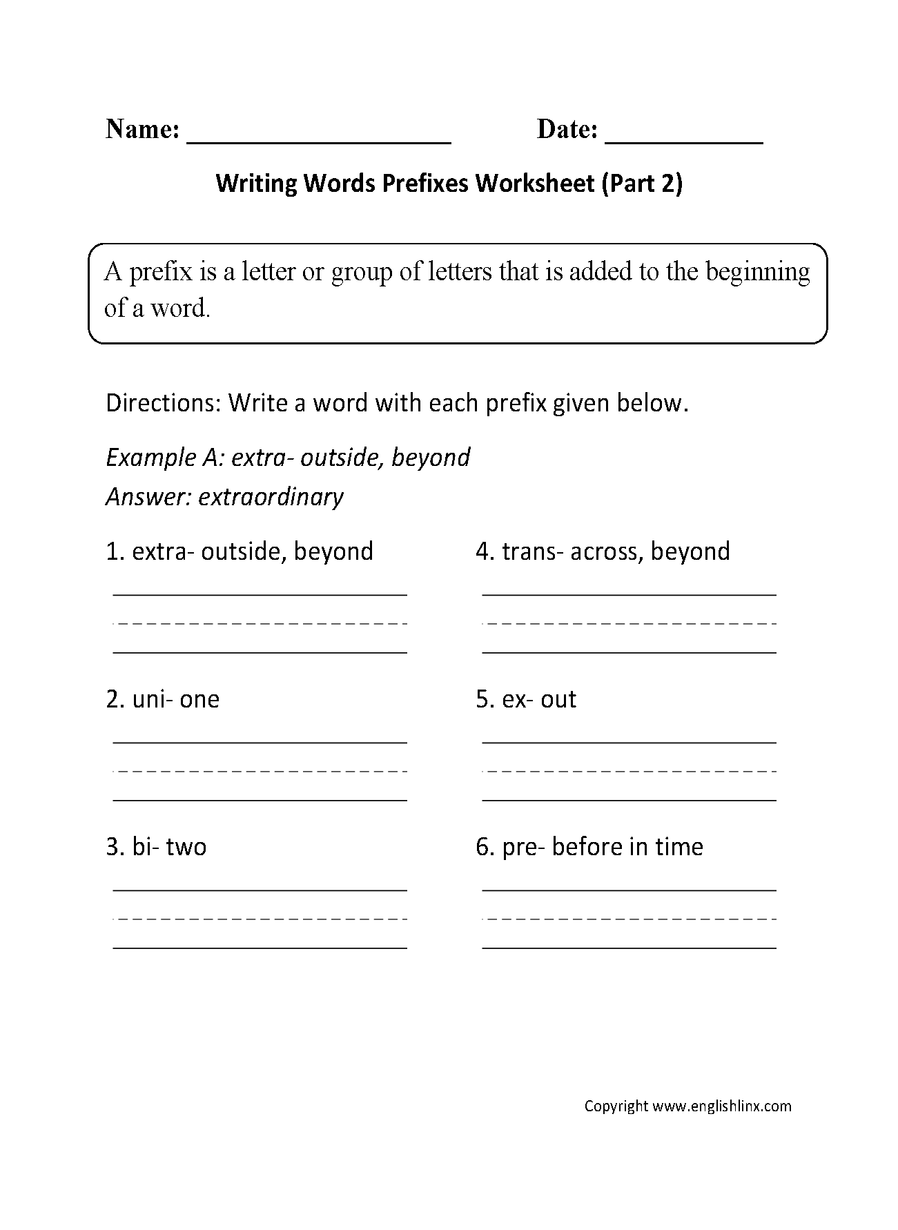 Writing Words Prefixes Worksheet Part 2