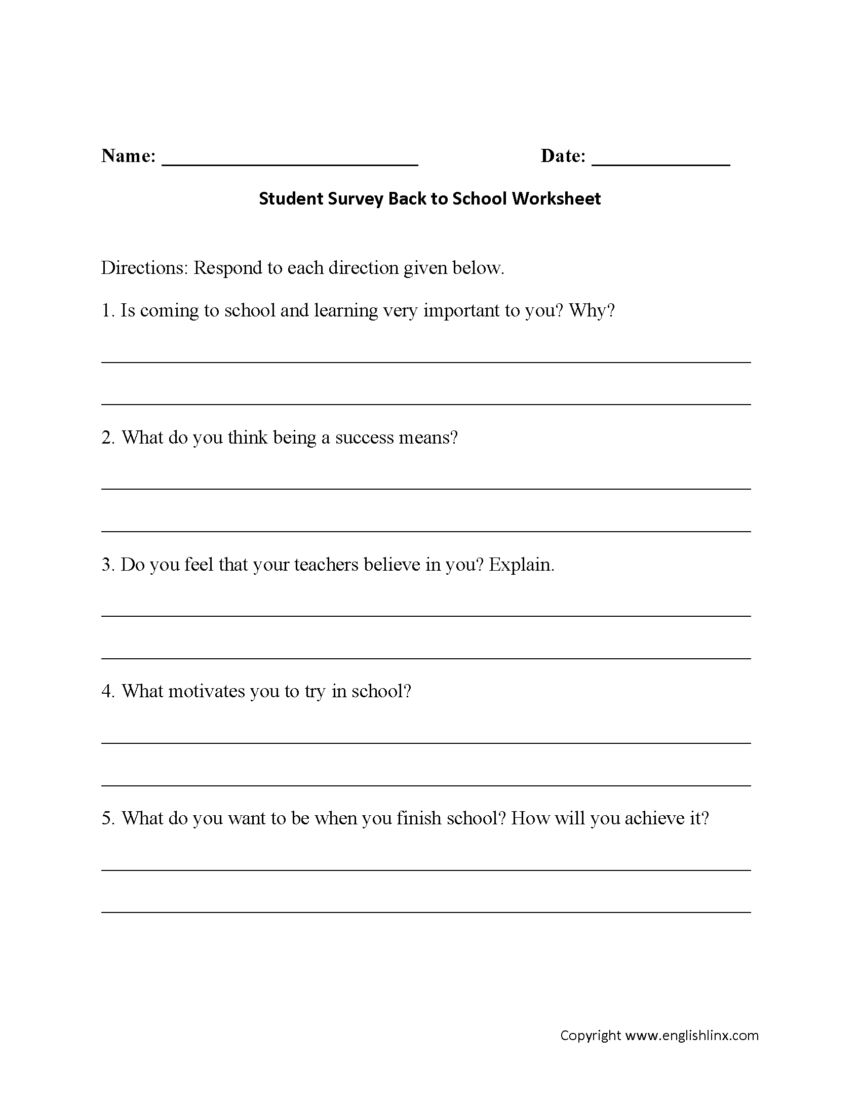 Student Survey Back to School Worksheets