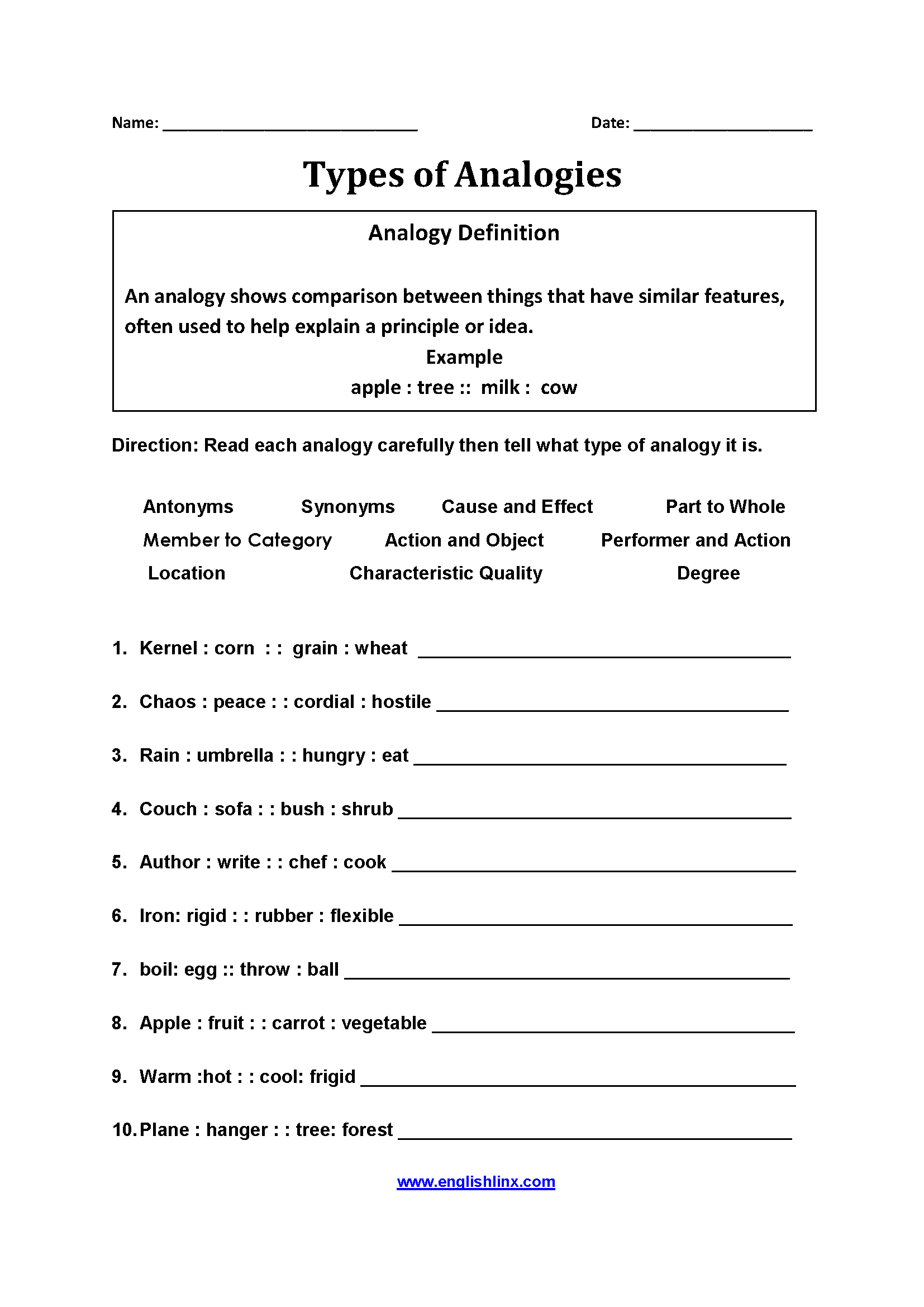 Types of Analogy Worksheets